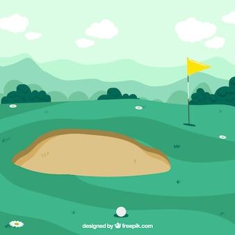 Gezeichnete art des golfplatzhintergrundes in der hand