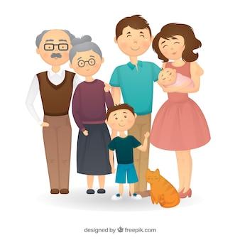 Gezeichnete art des großen familienhintergrundes in der hand