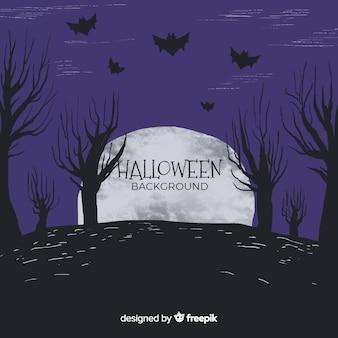 Gezeichnete art des halloween-hintergrundes in der hand