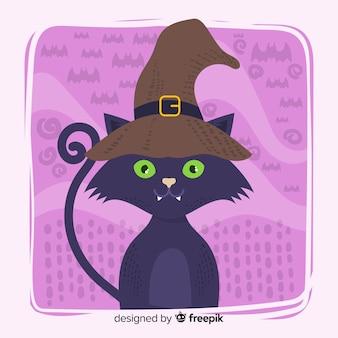 Gezeichnete art des halloween-katzenhintergrundes in der hand