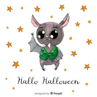 Gezeichnete art des halloween-schlägerhintergrundes in der hand