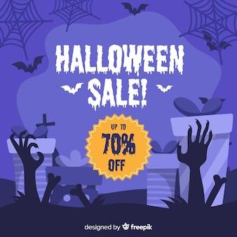 Gezeichnete art des halloween-verkaufshintergrundes hand
