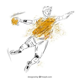Gezeichnete art des handballspielers in der hand