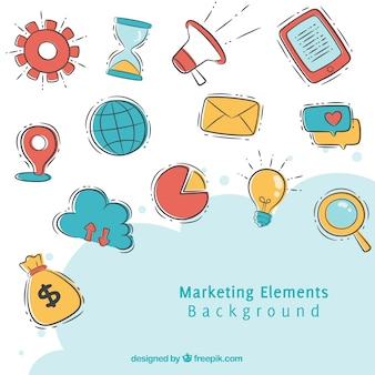 Gezeichnete art des marketing-elementhintergrundes in der hand
