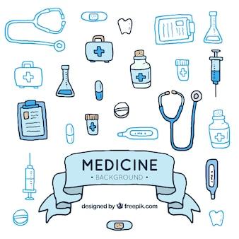 Gezeichnete art des medizinelementhintergrundes in der hand