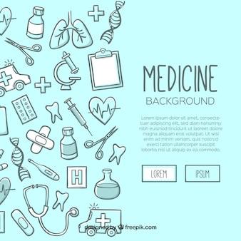 Gezeichnete art des medizinhintergrundes in der hand