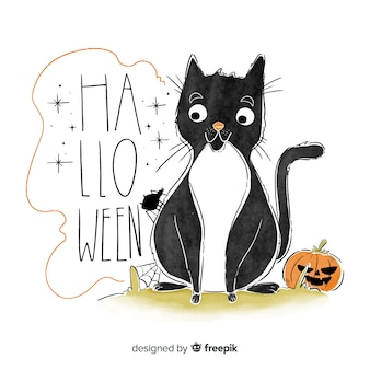 Gezeichnete art des netten halloween-hintergrundes hand mit einer katze