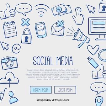 Gezeichnete Art des Social Media-Hintergrundes in der Hand