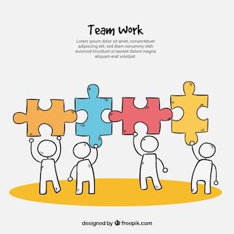 Gezeichnete art des teamarbeitshintergrundes in der hand