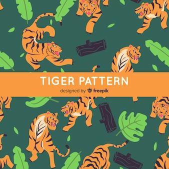 Gezeichnete art des tigermusters hand