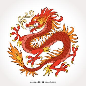 Gezeichnete art des traditionellen chinesen drachen in der hand