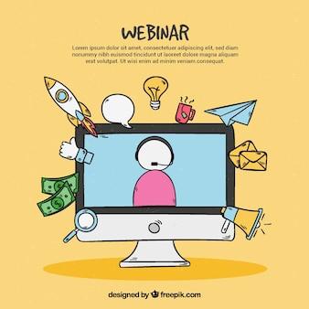 Gezeichnete art des webinar-konzeptes in der hand