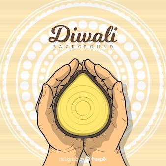 Gezeichnete art diwali-hintergrundschablone in der hand