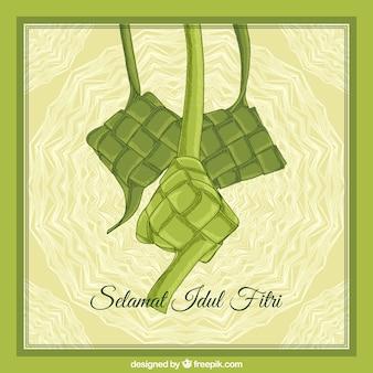 Gezeichnete art ketupat-hintergrundes hand