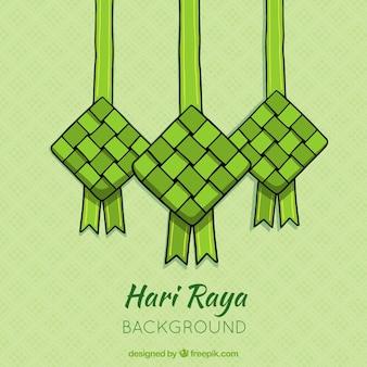 Gezeichnete art ketupat-hintergrundes in der hand