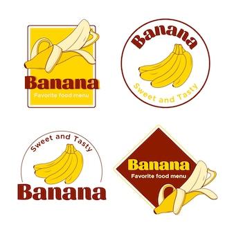 Gezeichnete bananenlogo-sammlung