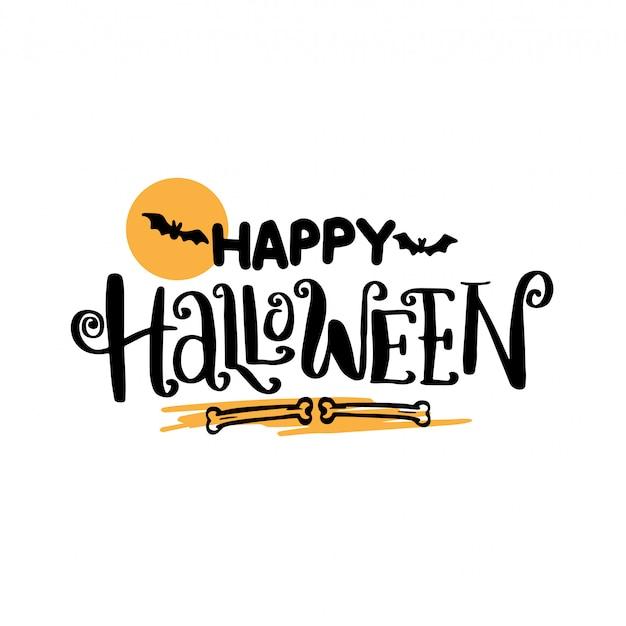 Gezeichnete beschriftung des glücklichen halloween-hand