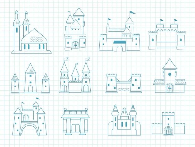 Gezeichnete burgen. gotische mittelalterliche königliche architektonische objekte mit türmen historisches märchenhaftes romantisches gekritzelvektorschlösser gesetzt