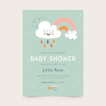Gezeichnete chuva de amor babypartykarte