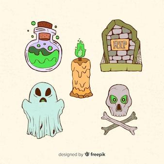 Gezeichnete elementsammlung halloween-hand