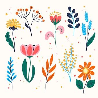 Gezeichnete frühlingsblumenpackung