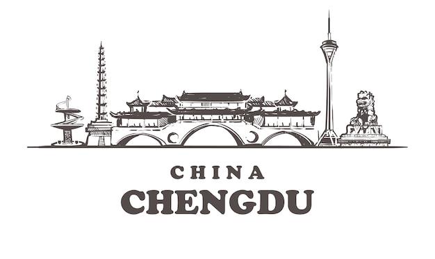 Gezeichnete gebäude in chengdu, china