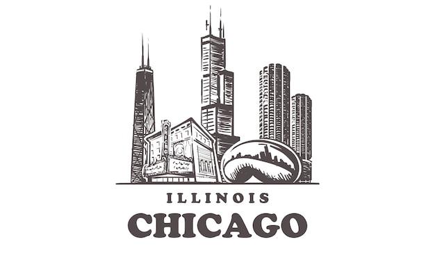 Gezeichnete gebäude in chicago, illinois