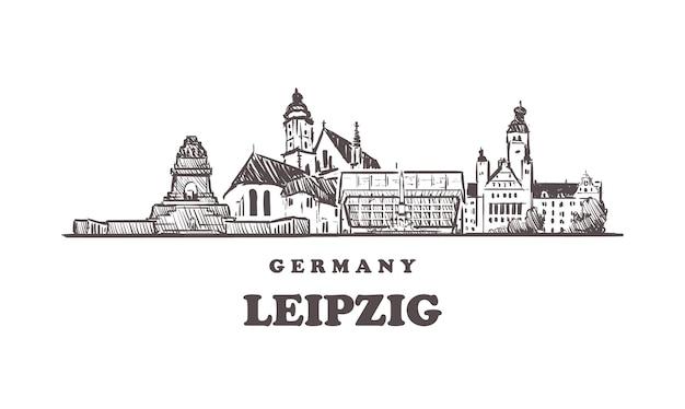 Gezeichnete gebäude in leipzig, deutschland