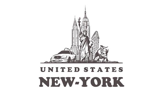 Gezeichnete gebäude in new york, usa