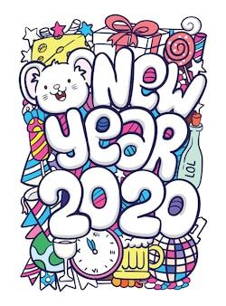Gezeichnete gekritzelkunst des neuen jahres 2020 hand