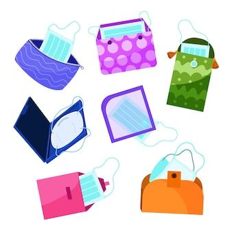 Gezeichnete gesichtsmaske aufbewahrungskoffer pack