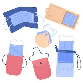 Gezeichnete gesichtsmasken-aufbewahrungskoffer-sammlung
