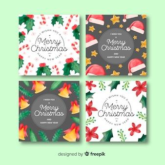 Gezeichnete glückwunschkartensammlung der weihnachtshand