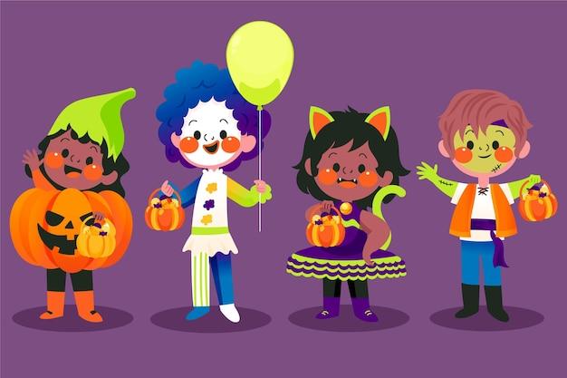 Gezeichnete halloween-kinder in kostümen