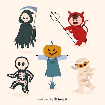 Gezeichnete halloween-kostüme der teufelcharaktere hand