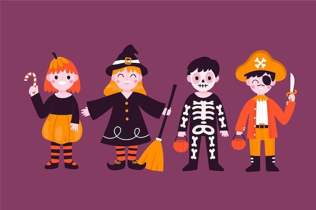 Gezeichnete halloween-kostüme für kinder