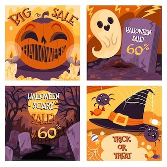 Gezeichnete halloween-social-media-beiträge