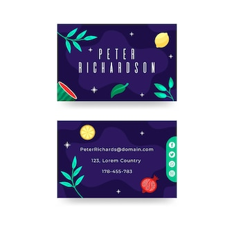 Gezeichnete horizontale doppelseitige visitenkarte