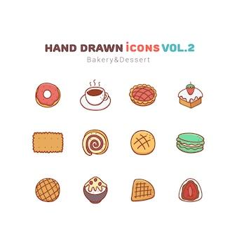 Gezeichnete ikonen der bäckerei und des nachtischs hand