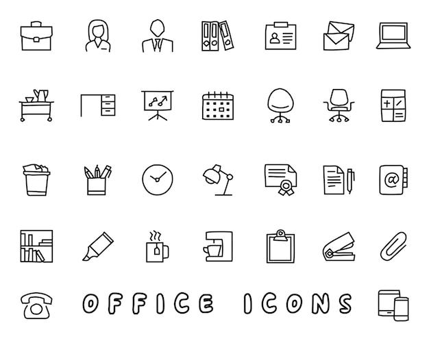 Gezeichnete ikonen des büros hand