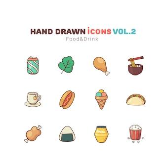 Gezeichnete ikonen des lebensmittels und des getränks hand