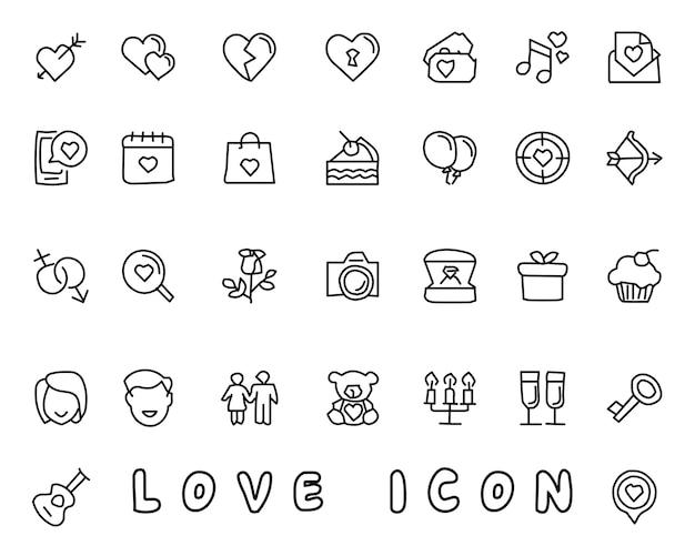 Gezeichnete ikonen-designillustration der liebe hand