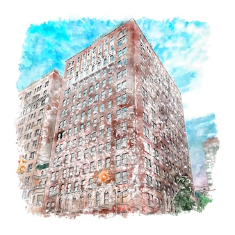 Gezeichnete illustration der architektur new york aquarell-skizze hand