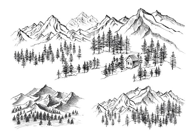 Gezeichnete illustration der berglandschaft hand