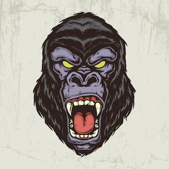 Gezeichnete illustration der gorillakopfhand
