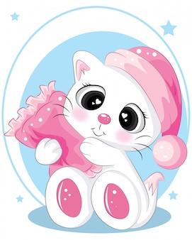 Gezeichnete illustration der netten schlafenden katze hand mit rosa kissen