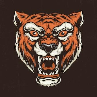 Gezeichnete illustration der tigerkopfhand