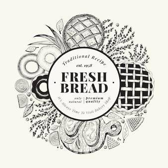 Gezeichnete illustration der vektorbäckerei hand. hintergrund mit brot und gebäck. vintage design-vorlage. kann für menü, verpackung verwendet werden.