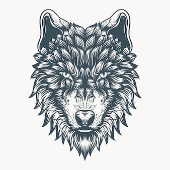 Gezeichnete illustration der wolfsgesichtshand