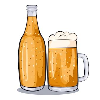 Gezeichnete illustration des bierglasbechers hand.